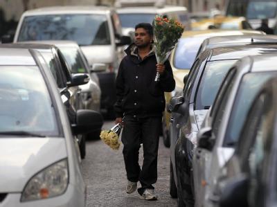 Flüchtling in Athen