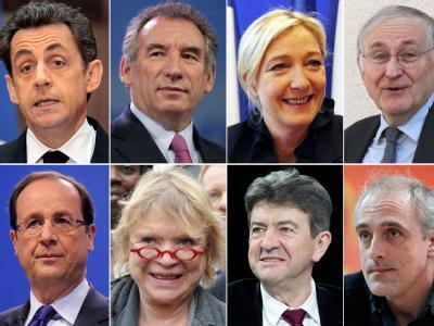 Die Bewerber für die französische Präsidentschaft.