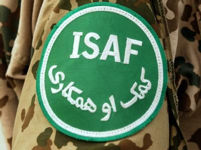 Das Abzeichen der internationalen Schutztruppe ISAF in Afghanistan.