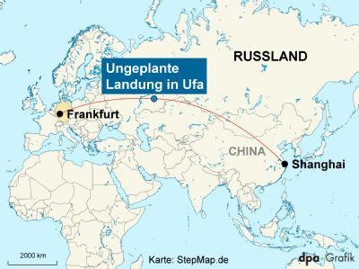 Weil sich in der Kabine ein «elektrischer Geruch» ausbreitete, musste eine Lufthansa-Maschine im russischen Ufa landen. Karte: Stepmap.de