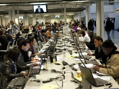 Warten auf gute Nachrichten: Medienzentrum beim Klimagipfel in Kopenhagen.