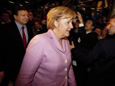 Kanzlerin Angela Merkel und EU-Kommissionspräsident José Manuel Barroso nach einer Verhandlungsrunde in Kopenhagen.