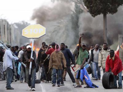Tagelöhner protestieren in Rosarno