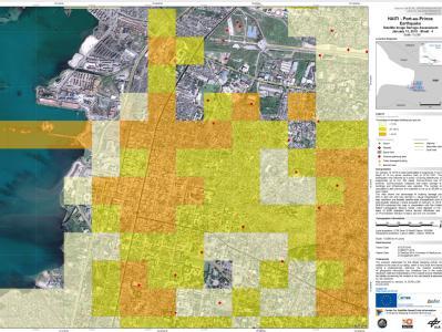 Eine Schadensbewertungskarten des es Deutschen Zentrums für Luft- und Raumfahrt (DLR) zeigt das Ausmaß der Zerstörung im Hafengebiet von Port-au-Prince.