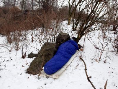 Obdachloser im Schnee