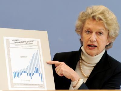 Die Präsidentin des Deutschen Städtetages, Petra Roth, präsentiert eine Grafik mit den aktuellen Daten zur Finanzlage der Kommunen.
