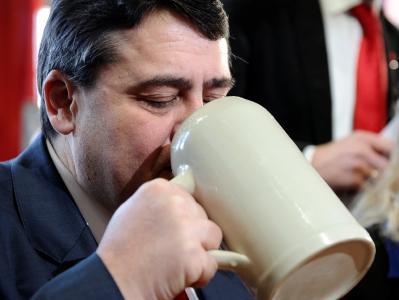 Der SPD-Parteivorsitzende Sigmar Gabriel beim Politischen Aschermittwoch der Bayern-SPD in Vilshofen.