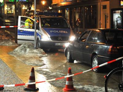 Polizeiabsperrung in der Innenstadt von Flensburg: Anhänger der «Bandidos» hatten ein Mitglied der «Hells Angels» attackiert.