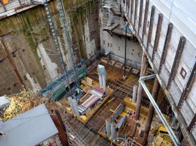 Die U-Bahn Baustelle am Heumarkt in Köln soll mit 14500 Kubikmeter Wasser geflutet werden.