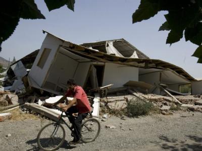 Beschädigtes Haus in Santiago de Chile