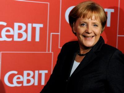 Bundeskanzlerin Angela Merkel (CDU) im Congress Centrum Hannover bei der Eröffnungsveranstaltung für die CeBIT 2010.