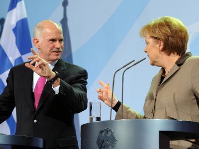 Der Ministerpräsident Griechenlands, Giorgos Papandreou, und Bundeskanzlerin Angela Merkel im Bundeskanzleramt in Berlin.