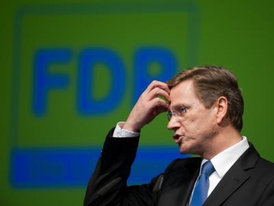 Guido Westerwelle in Siegen auf dem Landesparteitag der nordrhein-westfälischen FDP.