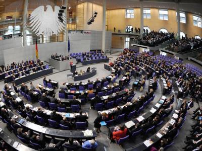 Blick auf den Plenarsaal des Bundestages während der Haushaltsdebatte (Archivbild).