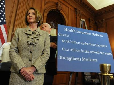 Die Präsidentin des US-Abgeordnetenhauses, Nancy Pelos, bei einer Pressekonferenz zur Gesundheitsreform.