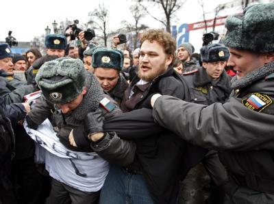 Bei einer unerlaubten Protestveranstaltung in Moskau gab es viele Festnahmen.
