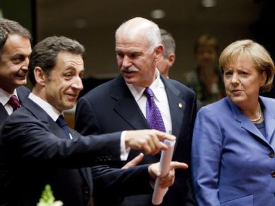 José Luis Rodríguez Zapatero, Nicolas Sarkozy, Giorgos Papandreou und Angela Merkel.
