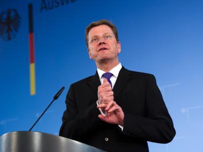 Bundesaußenminister Guido Westerwelle (FDP) gibt im Auswärtigen Amt eine Pressekonferenz.
