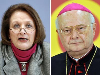 Bundesjustizministerin Sabine Leutheusser-Schnarrenberger und der Vorsitzende der Deutschen Bischofskonferenz, der Freiburger Erzbischof Robert Zollitsch (Archiv-Bildkombo).