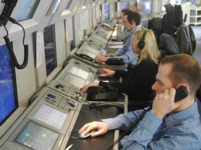 Fluglotsen der europäischen Flugsicherungsbehörde Eurocontrol (Archiv).