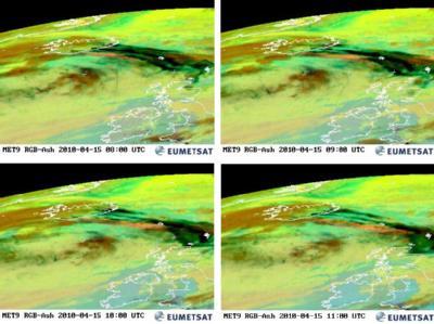 Satellitenbilder vom Luftraum über Island mit Aschewolken, aufgenommen am Donnerstag (15.04.2010) zu verschiedenen Uhrzeiten (Kombo).