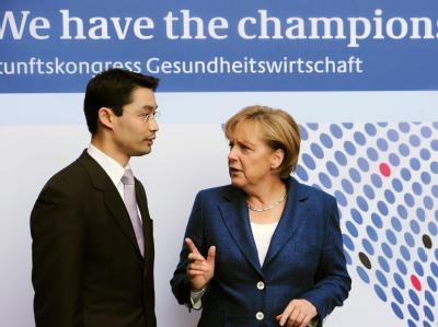 Bundeskanzlerin Angela Merkel und Bundesgesundheitsminister Philipp Rösler beim Kongress des Bundesgesundheitsministeriums zum Thema Gesundheitswirtschaft.