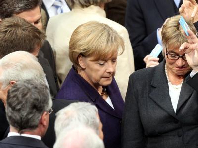 Bundeskanzlerin Angela Merkel während der Abstimmung zur Griechenlandhilfe.