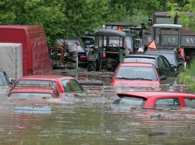 Im polnischen Sandomierz sind zahlreiche Autos unter Wasser gesetzt.