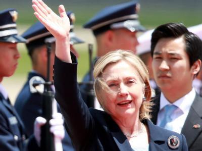 US-Außenministerin Clinton bei ihrer Ankunft in Südkorea.