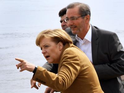 Angela Merkel und Matthias Platzeck besuchen Frankfurt an der Oder.