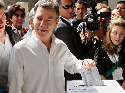 46,56 Prozent der kolumbianischen Wähler stimmten für den früheren Verteidigungsminister Juan Manuel Santos.