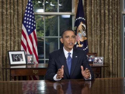 US-Präsident Barack Obama während seiner Rede im Oval Office.