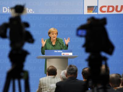 Bundeskanzlerin Angela Merkel eröffnet die CDU-Kreisvorsitzendenkonferenz.