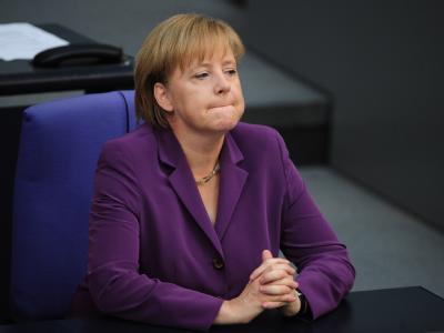 Bundeskanzlerin Angela Merkel (CDU) während einer der Sitzung des Bundestags.