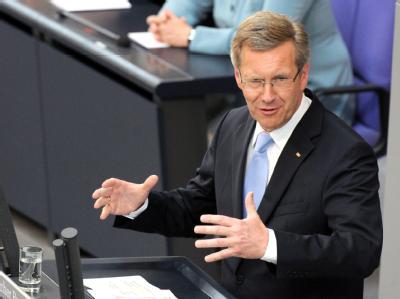 Der neue Bundespräsident Christian Wulff bei seiner Antrittsrede.