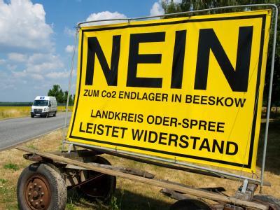 Protestschild gegen die geplante Co2-Speicherung des Energiekonzerns Vattenfall.