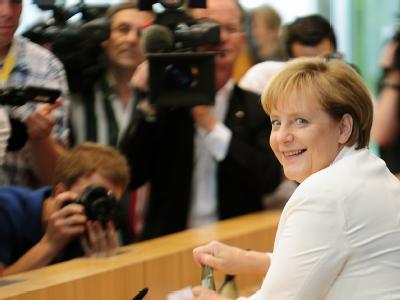 Angela Merkel vor ihrer Pressekonferenz.