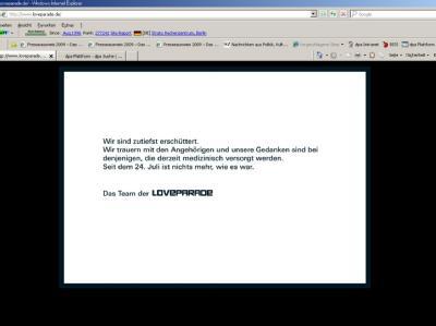 Das Team der Loveparade bringt auf seiner Internetseite Loveparade.de seine Erschütterung und Trauer zum Ausdruck (Screenshot vom 27.07.2010).