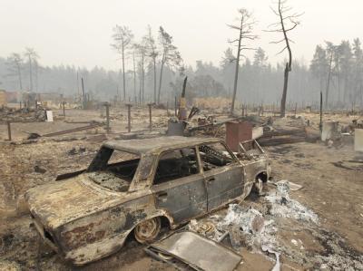 Völlig vernichtet: das Dorf Mokhovoye 170 Kilometer von Moskau.