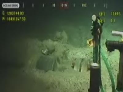 Das Videobild zeigt die Arbeiten am abgedichteten Bohrloch im Golf von Mexiko. Foto: BP/Screenshot/HO