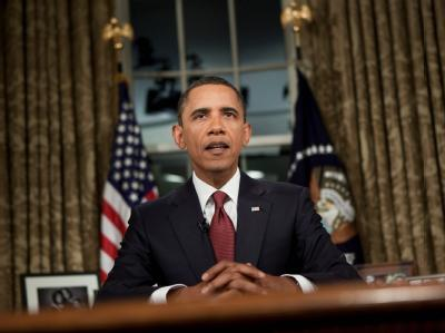 Barack Obama während seiner Rede im Oval Office.