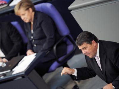 SPD-Chef Gabriel während seiner Ausführungen im Bundestag.