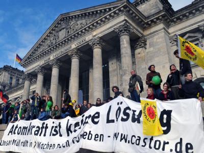 Demonstranten stehen auf den Stufen des Reichstaggebäudes.