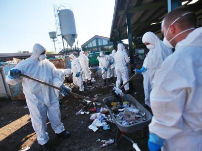 Polizisten in Schutzanzügen durchsuchen etwa 17 Kubikmetern Müll nach Mircos Handy.