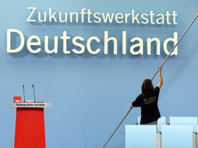 Aufbauarbeiten SPD-Parteitag