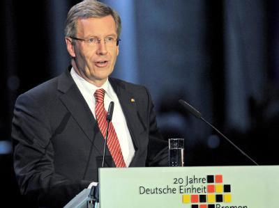 Bundespräsident Christian Wulff bei seiner Rede zum Tag der deutschen Einheit.