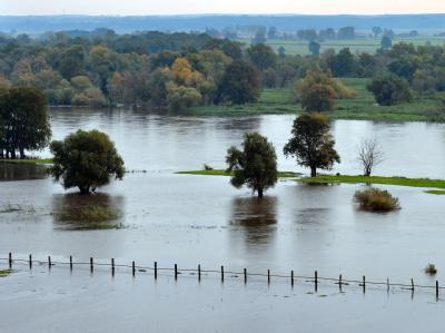 Blick von der «Schönen Aussicht» im brandenburgischen Lebus auf die vom Hochwasser der Oder überschwemmten Wiesen.