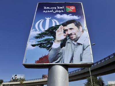 Ein Begrüßungsplakat für Ahmadinedschad in der libanesischen Hauptstadt Beirut.