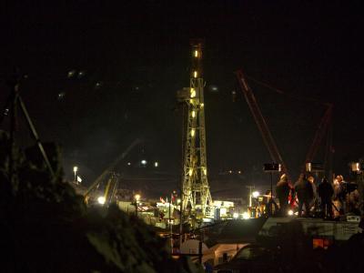 Nachtarbeit an der Unglücksmine in Chile.