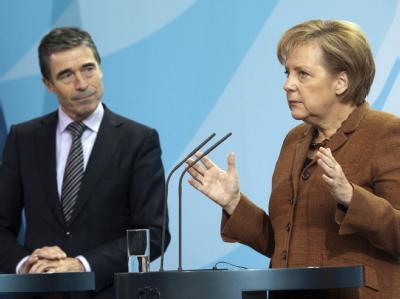 NATO-Generalsekretär Anders Fogh Rasmussen und Kanzlerin Angela Merkel (CDU) am Freitag in Berlin
